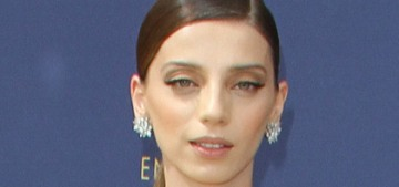 Angela Sarafyan brought the drama in Christian Siriano at the Emmys