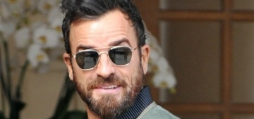 Justin Theroux & Laura Harrier were seen 'strolling' the streets of Paris together