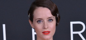 Claire Foy wore a pretty, marigold Oscar de la Renta to the DC 'First Man' premiere
