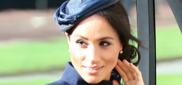 Duchess Meghan wears navy Givenchy to Princess Eugenie's wedding