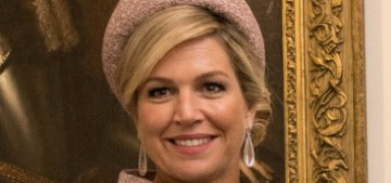 Queen Maxima wore a lovely blush suit for the Dutch state visit to the UK