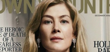 Rosamund Pike went into labor so quickly, she had to give birth at her mom's apartment