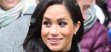 Duchess Meghan wore a vintage William coat for a snowy trip to Bristol