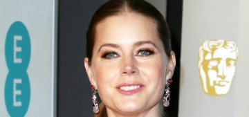 Amy Adams in burgundy Prada at the BAFTAs: lovely or too shiny?