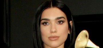 Dua Lipa looked like a movie star in silver Versace at the Grammys