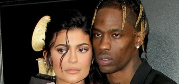 Kylie Jenner wore a baggy Balmain ensemble to support Travis Scott at the Grammys