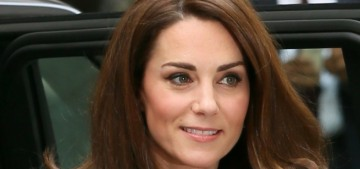 Duchess Kate wore a tweed suit with bejeweled buttons today in London