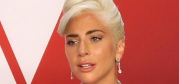 Lady Gaga was orange & black in McQueen & Brandon Maxwell at the Oscars