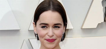 Emilia Clarke in pink Balmain at the Oscars: so pretty and perfect