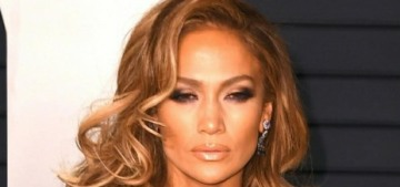 Jennifer Lopez in Zuhair Murad at the VF Oscar party: still glum or perked up?