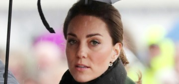 Duchess Kate wore Sportmax & Michael Kors for a dreary, rainy day in Blackpool