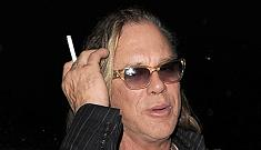 Mickey Rourke picks a fight with fence, while Leo DiCaprio pouts
