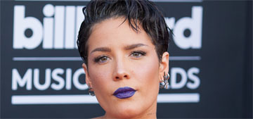 Halsey in a blue vinyl and lace dress at the BMAs: hot mess?