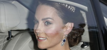 Duchess Kate wore white McQueen & a tiara for the Trump state dinner