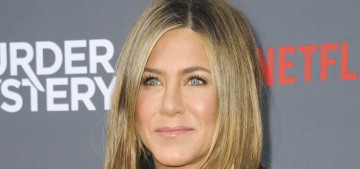 Jennifer Aniston wore a little black leather dress for the 'Murder Mystery' premiere