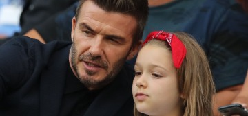 David & Harper Beckham attend Team England's match in the World Cup QF