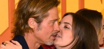 These photos of Lena Dunham awkwardly kissing Brad Pitt are really funny
