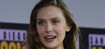 Elizabeth Olsen's engagement ring is a big emerald with a diamond surround