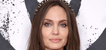 Angelina Jolie wore a McQueen LBD & an amazing studded headband in the UK