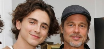 Brad Pitt posed awkwardly with Timothee Chalamet at 'The King' screening