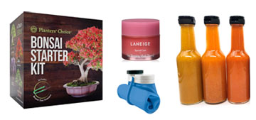 Gifts including a bonsai growing kit and a gourmet hot sauce making kit