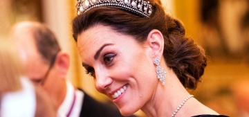 Duchess Kate wore velvet McQueen & lots of diamonds to the Diplomatic reception