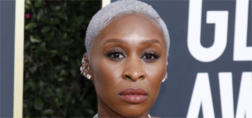 Cynthia Erivo in custom Thom Browne at the Golden Globes: pretty but not dramatic