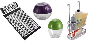 Cute produce savers, an acupressure mat and over-the-door kitchen organizers