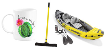 A personalized mug, a broom that picks up everything and a dish squeegee