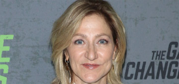 Edie Falco flips between CNN and MSNBC and sews to calm down