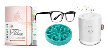 A portable humidifier, a slow-feeding pet bowl and blue light blocking glasses