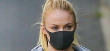 Mask-wearing Sophie Turner & Joe Jonas walk their three beautiful dogs in LA