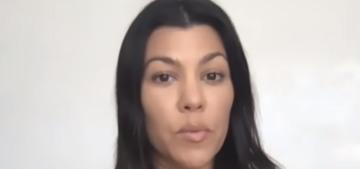 Kourtney Kardashian isn't shampooing her hair, she just runs water through it