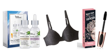 BB cream with sunblock, a comfy t-shirt bra and a day and night serum set