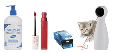 An automatic laser toy for cats, a lipstick that won't transfer and a heated bag resealer