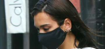 Dua Lipa steps out in good trousers, a bodysuit & a mask: great street style?