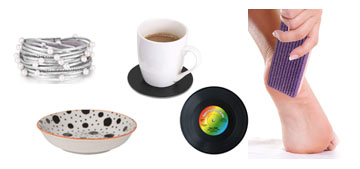 Professional callus remover, cute pinch bowls and coasters that are little records