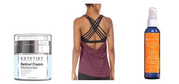 A tank top with a built-in bra, a chain for your mask and retinol cream