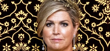 """Queen Maxima looked amused in an overly ruffled saffron gown"" links"