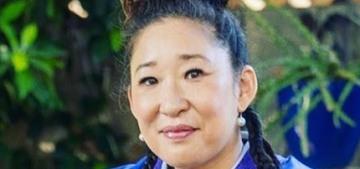 Sandra Oh's Emmys look: a customized jacket reading 'Black Lives Are Precious'