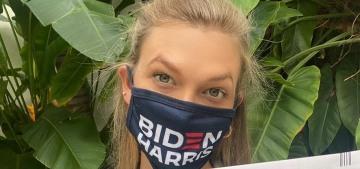 Karlie Kloss casts her ballot in a Biden-Harris mask, which triggered MAGA trolls