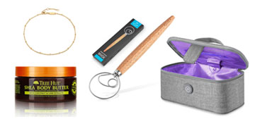 A pet hair remover, a UV sterilizing bag, a fleece sweatshirt and body butter