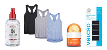 A hydrating sleep mask, workout tanks and face mask extenders for a better fit