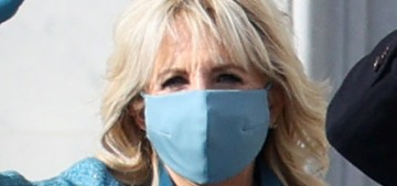 Dr. Jill Biden is wearing a blue tweed coat & dress by Alexandra O'Neil