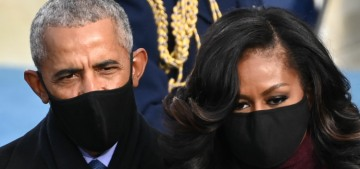 Michelle Obama looked like an Avenger in plum Sergio Hudson at the inauguration