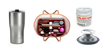 The bestselling lip scrub, a weighted blanket, a purse organizer & a garbage disposal cover