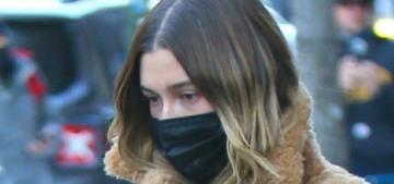 """Hailey Bieber's coat does look like a comfortable bath mat"" links"