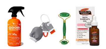 A jade roller set, a pet odor eliminator and a cute backpack