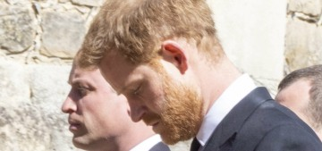 Prince William & Harry walked together as they left Prince Philip's funeral
