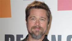 Dandy Brad Pitt wears monogrammed shoes for Spanish photocall